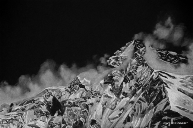 fine art white charcoal pencil drawing on black paper mountains