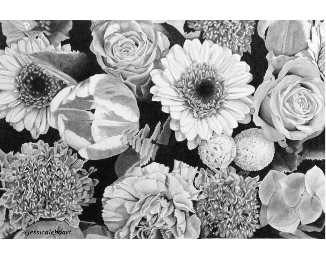 fine art graphite pencil drawing flowers bouquet