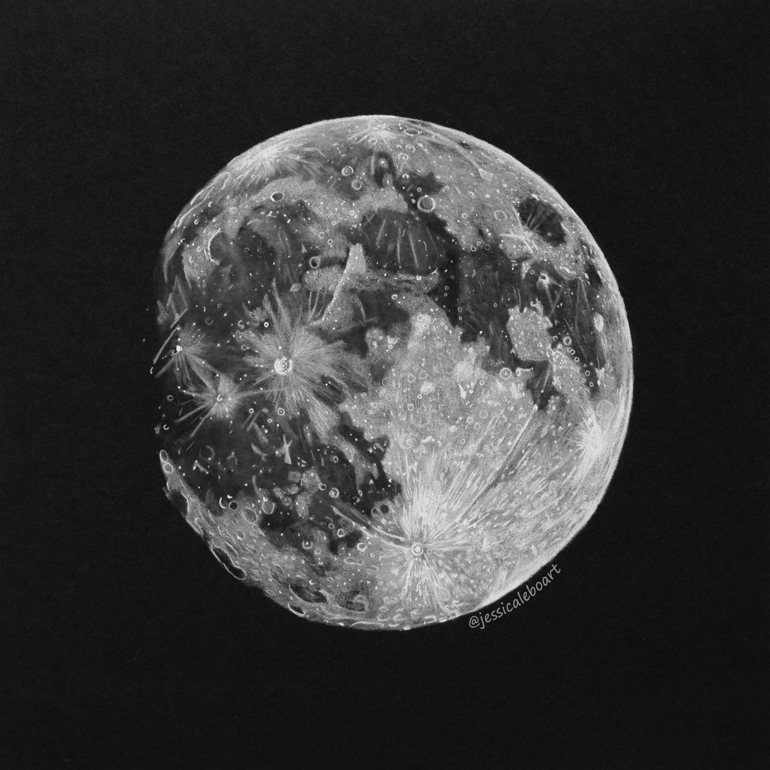 fine art white charcoal pencil drawing on black paper mooon