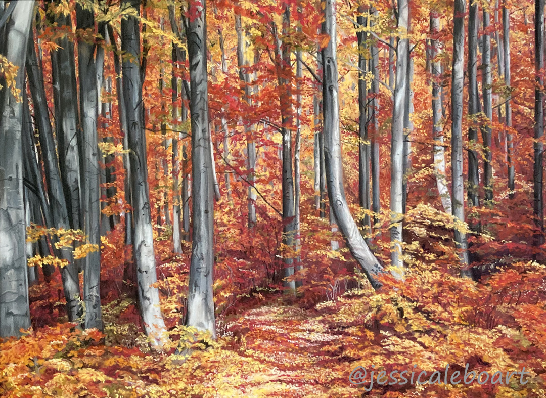 pastel drawing landscape fall trees