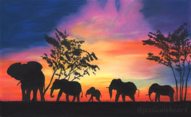 pastel realism drawing elephants sunset africa