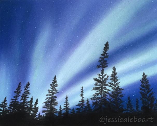 northern lights aurora borealis pastel drawing