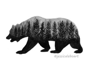 double exposure ink drawing bear forest