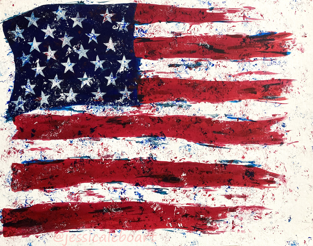 abstract american flag acrylic painting