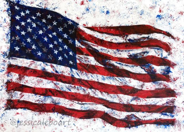 abstract waving american flag acrylic painting