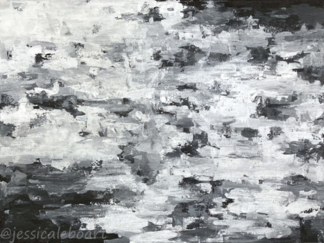 abstract black and white palette knife acrylic painting