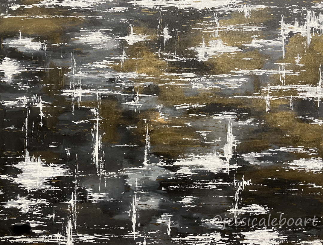 abstract black and gold acrylic painting