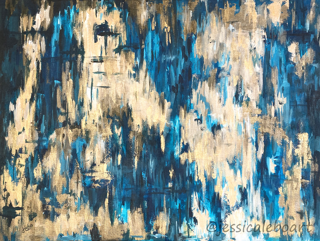 abstract acrylic blue and gold painting