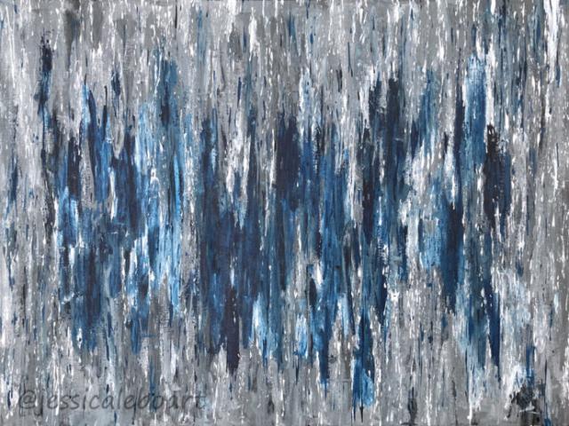 abstract rainfall acrylic painting