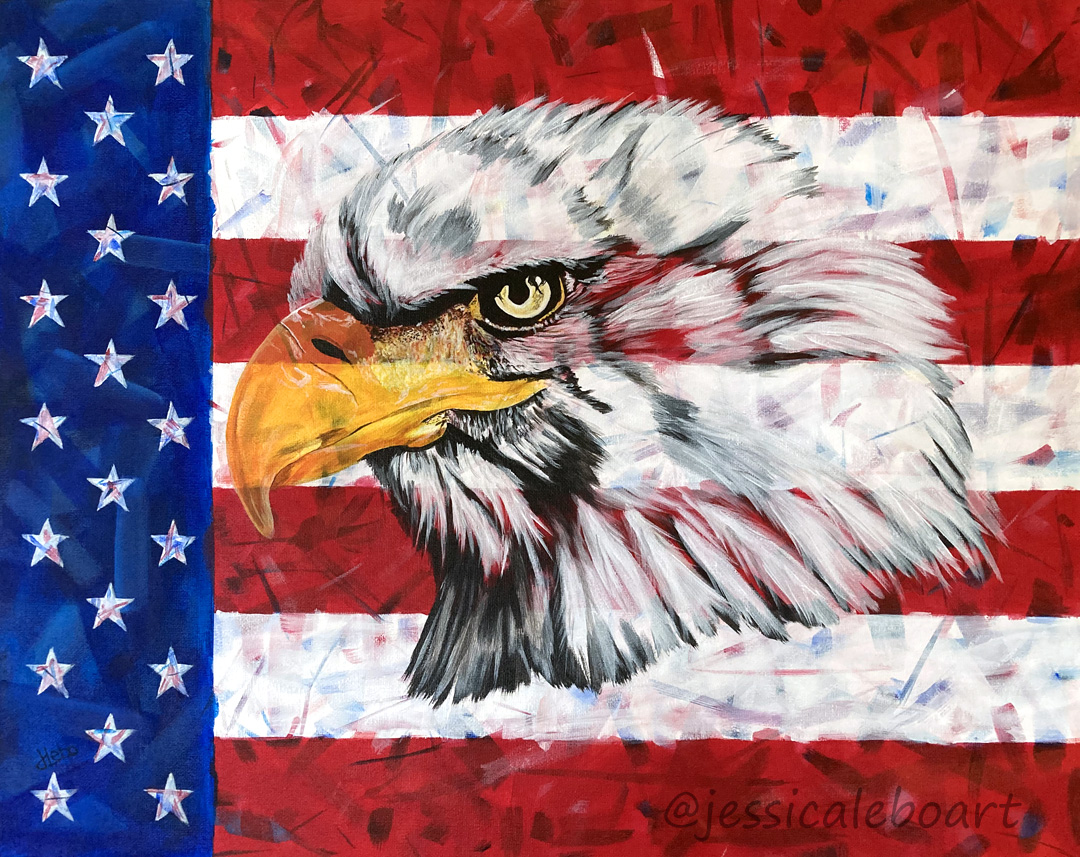 american flag eagle acrylic painting
