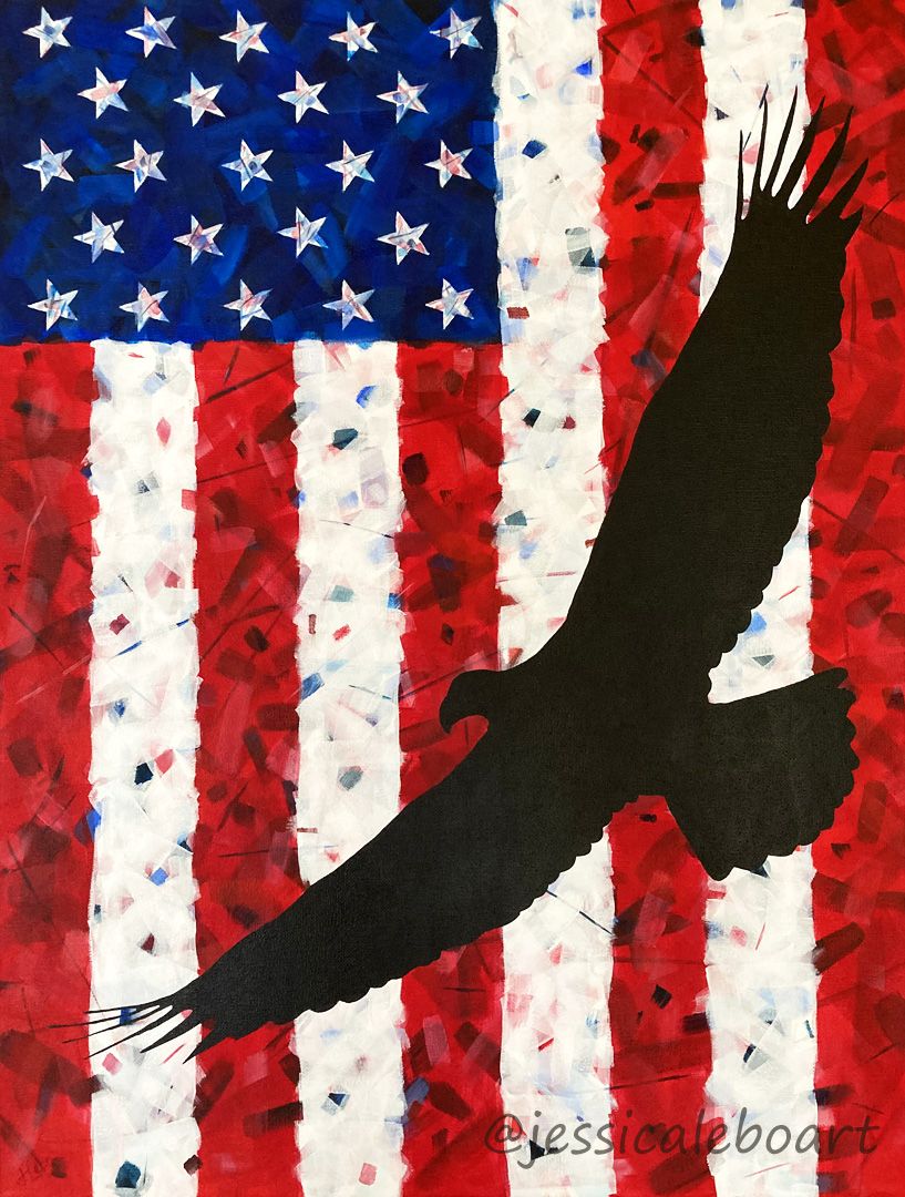 abstract american flag eagle acrylic painting