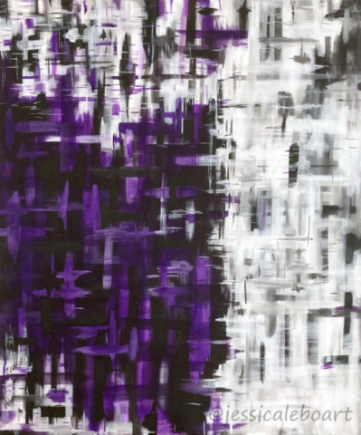 abstract acrylic purple painting