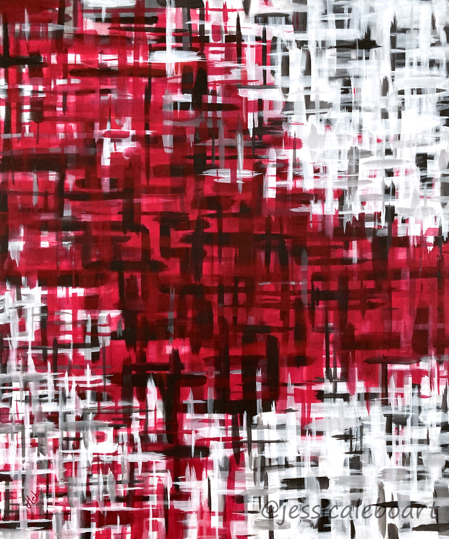 abstract red and black acrylic painting