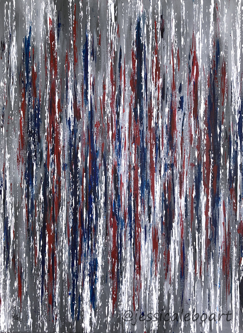 abstract red white and blue acrylic painting