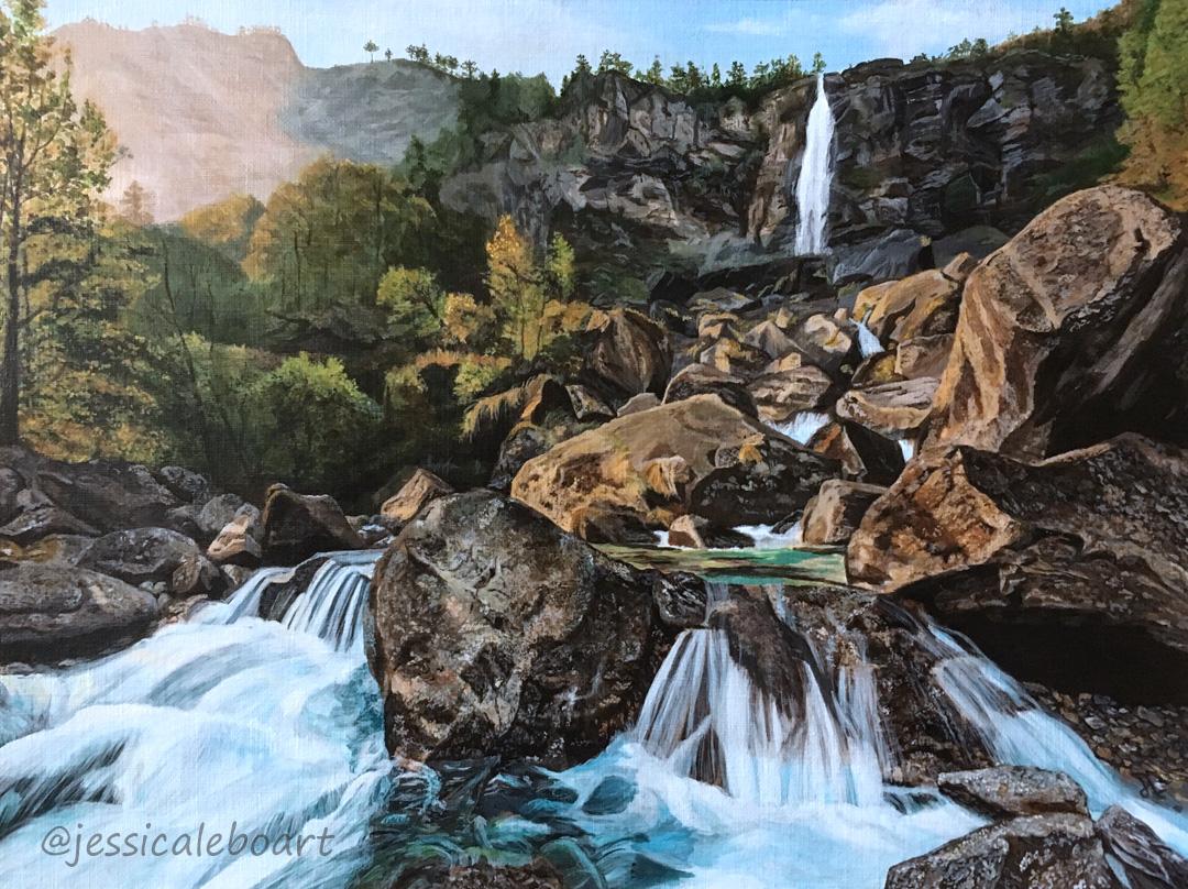 acrylic rocky waterfall realistic painting