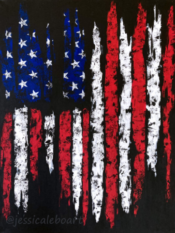 rugged abstract american flag acrylic painting