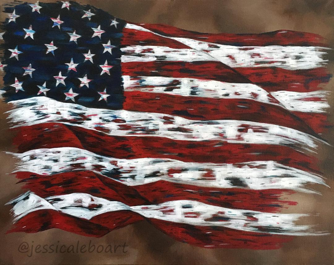 rugged abstract waving american flag acrylic painting