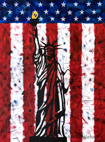 abstract american flag statue of liberty acrylic painting