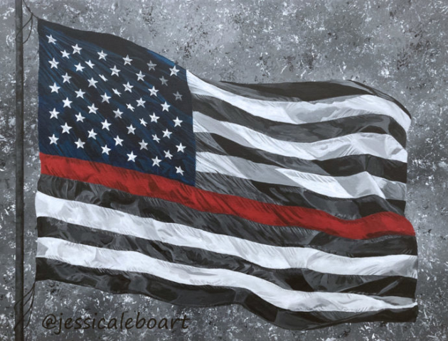 thin red line waving american flag acrylic painting