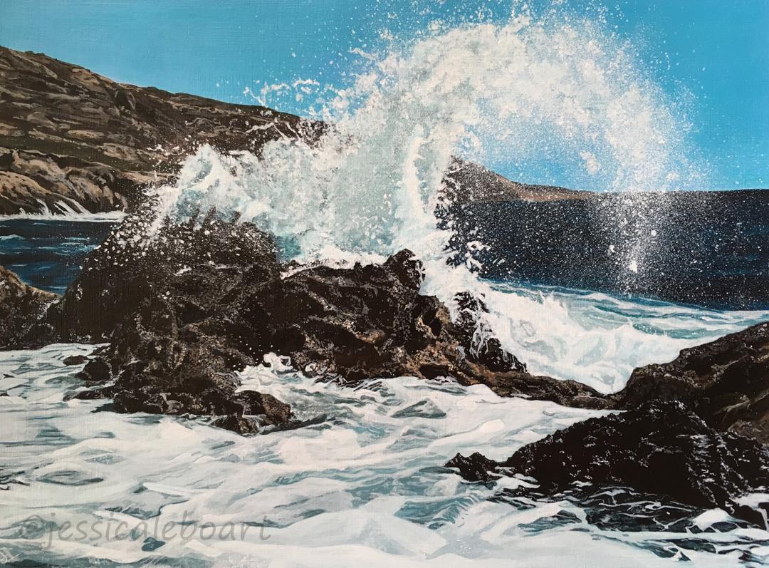 acrylic rocks ocean splash painting