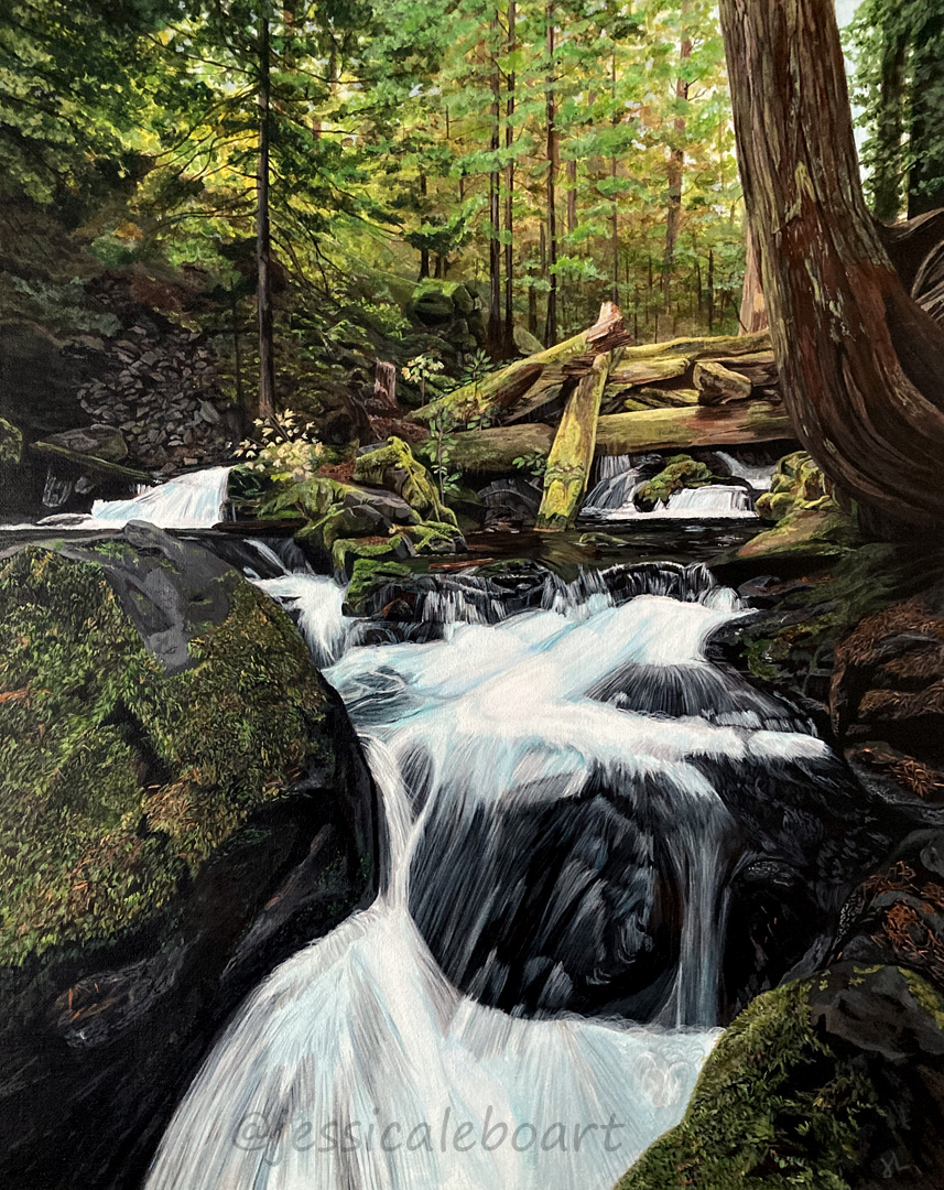 acrylic painting wooded waterfall